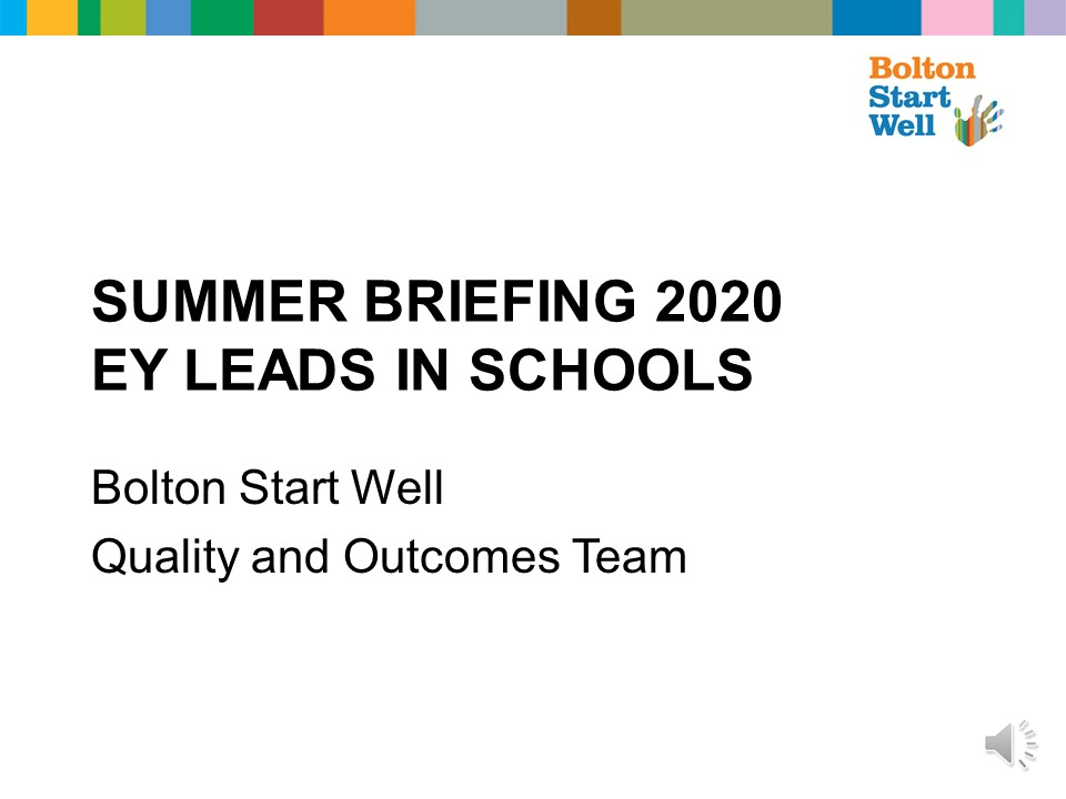 Summer Briefing 2020 for EY Leads in Schools